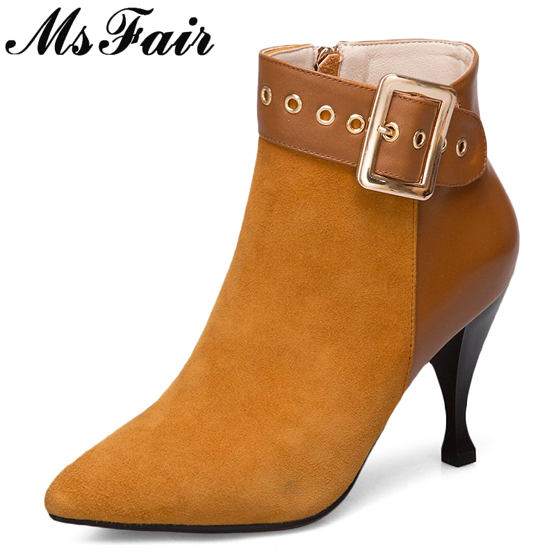 MSFAIR Pointed Toe High heel Women Boots Fashion Zipper Buckle Ankle Boots Women Shoes Concise Thin Heels Ankle Boots Woman msfair pointed toe super high heel women boots fashion zipper ankle boots women shoes elegant thin heels black khaki boots shoes