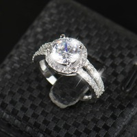 Real 925 Sterling Silver Sapphire Ring Pink Wedding Engagement Zirconia Finger Anel CZ Diamond For Women