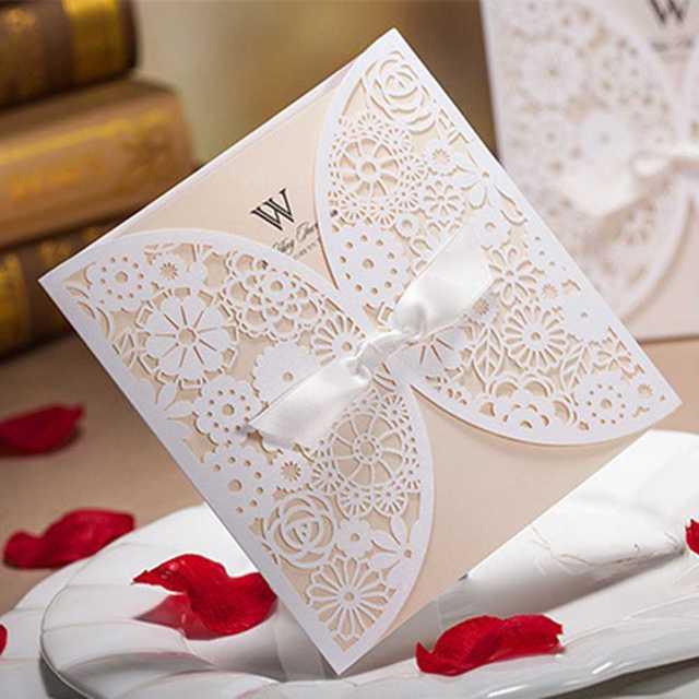 50 Sztuk Biały Luksusowe Koronki Zaproszenia ślubne Eleganckie