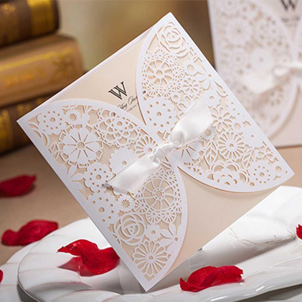 50pcs White Luxury Lace Wedding Invitations Elegant Embossed Ribbon ...
