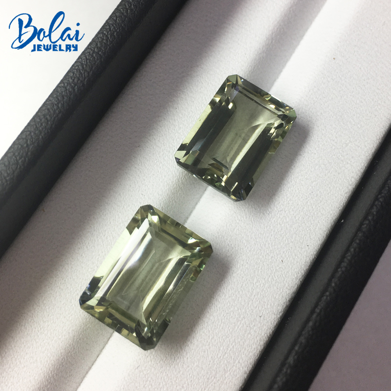 цены Bolaijewelry,Natural green amethyst emerald cut 10*14mm 2 piece in one lot 15.5 ct loose gemstone for jewelry