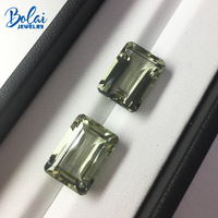 Bolaijewelry,Natural green amethyst emerald cut 10*14mm 2 piece in one lot 15.5 ct loose gemstone for jewelry