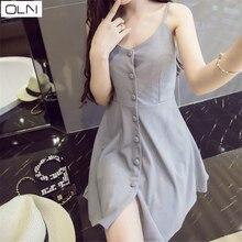 Vestidos dress OLN Korean version summer temperament wild single-breasted waist slimming strap new arrival
