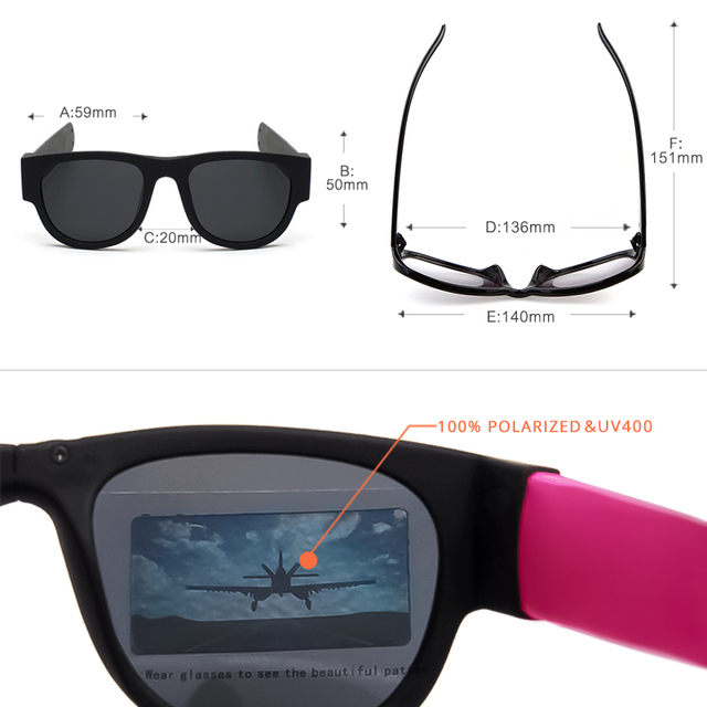 2019 New Circle Round Sunglasses Polarized For Men and Women Outdoor Fold Sun Glasses Portable With case Anti UV400Rays CE