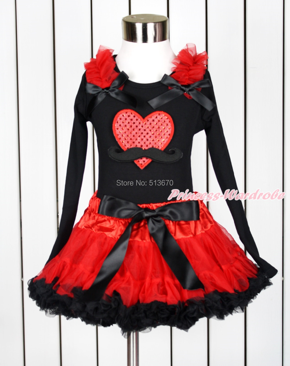 Valentine Mustache Sparkle Red Heart Black Top Hot Red Black Pettiskirt Set 1-8Y MAPSA0113 xmas red orange yellow black roses brown top baby girl pettiskirt outfit 1 8y mapsa0038