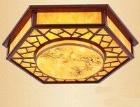 Китайский стиль деревянный ресторан столовая потолочный светильник шестиугольник овчины печать имитация овчины потолочный светильник ZH