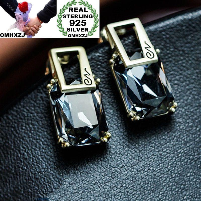 1941c614e0af OMHXZJ europea al por mayor de mujer de moda de niña de fiesta regalo de boda  rectángulo AAA Zircon S925 de plata esterlina Stud pendientes EA142 ...