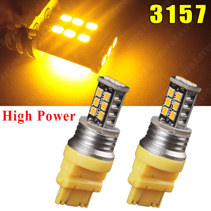 CYAN SOIL BAY 2X Amber/Yellow 3157 3156 T25 15W 15 SMD High Power LED Rear Turn Parking Light 3157A Brake Bulb Lamp