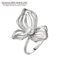 Neoglory Silver 925 Chinese Style Rings Flower Vintage Wedding Rings Simulated Pearl Gifts For Women Fashion