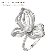 Neoglory Silver 925 Chinese Style Rings Flower Vintage Wedding Rings Simulated Pearl Gifts For Women Fashion Jewelry 2018 New(China)