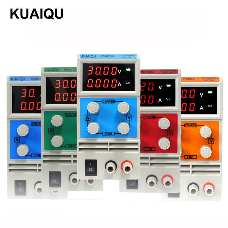 KUAI QU 30V 5A Adjustable Switch DC Power Supply 30V 10A laboratory power supply LED display 60V 5A Regulator 110V-230V ship from de four digit display professional 0 30v 0 5a dc power supply device for workshops laboratory etm 305f eu plug