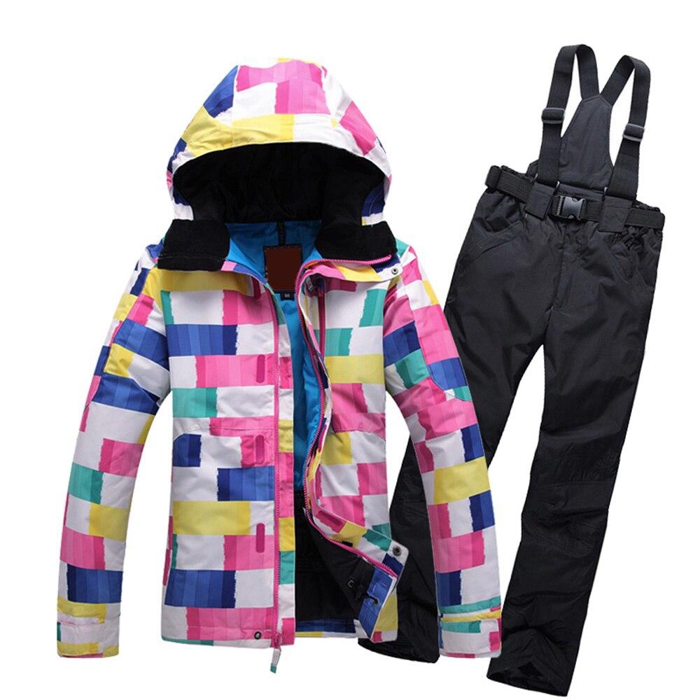 Prix pour Haute Qualité femelle ski costumes veste + pantalon Femmes étanche, respirant thermique coton rembourré super chaud femme de neige manteaux XS-L