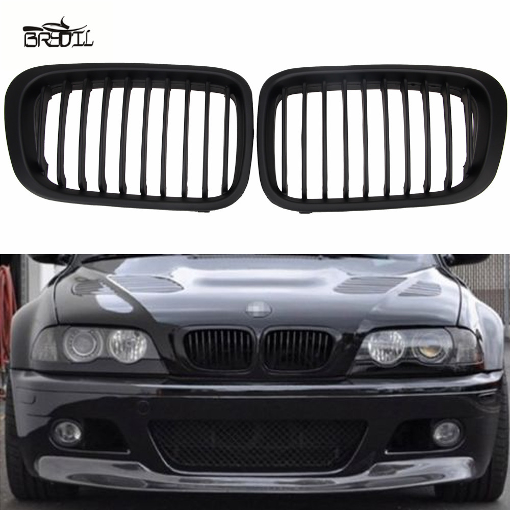 1 Pair ABS Front Replacement Matte Black Kidney Grille Grill For E46 3 Series Sedan 4