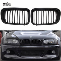 1 Pair ABS Front Replacement Matte Black Kidney Grille Grill For E46 3 Series Sedan 4 Droor Sedan 1998 2001