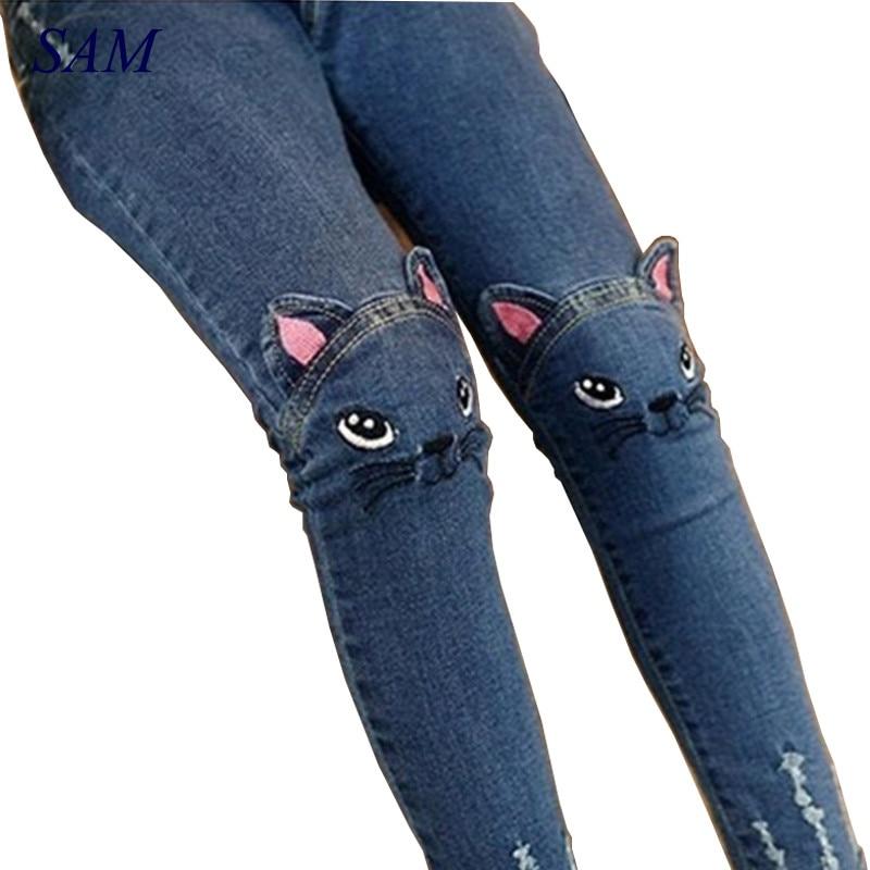 2017 Spring Fashion Kids Girls Jeans Pants Girls Leggings Cartoon Cat Children Pencil Pants Long Trousers Pantalon Fillette free shipping 2016 spring cartoon children jeans boys and girls pants embroidered denim trousers korean children jeans wa05