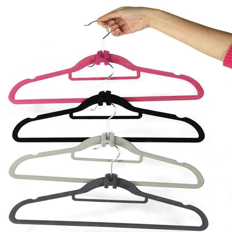 高品質 10 ピース/パッククリエイティブミニフロッキング洋服ハンガーホット販売新ファッション簡単フッククローゼットオーガナイザーホーム製品