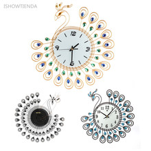 ISHOWTIENDA 37*40cm Vintage Style Peacock Antique Wall Clock for Home Kitchen Office Livingroom Decoration Wall Clock Stickers