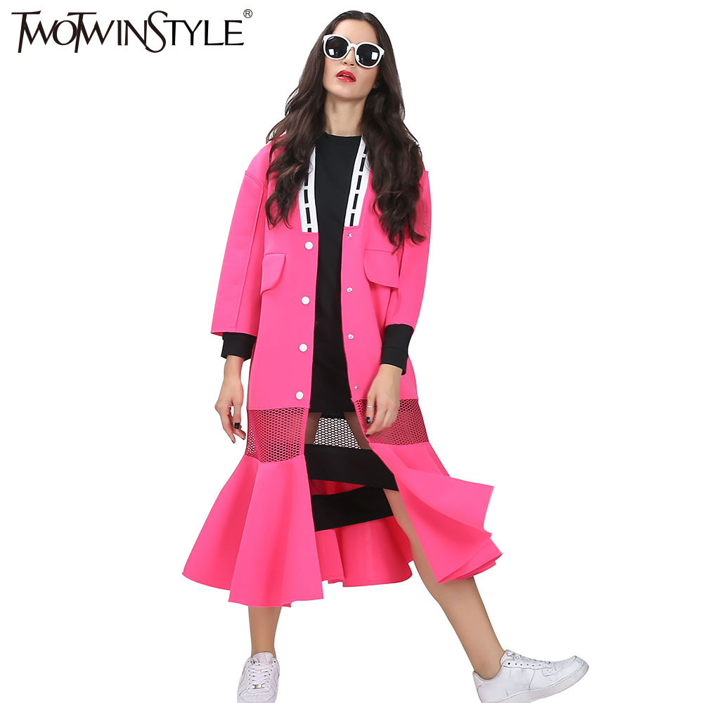 [TWOTWINSTYLE] streetwear long   trench   coat for women windbreaker 2019 autumn new V-neck fishtail hem see-through grid fashion