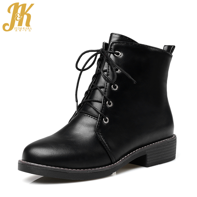 JK Autumn Chunky Heels Ankle Women Boots Round Toe Pu Footwear Fashion Casual Female Shoes 2018 Winter Lace Up Short Plush Boots