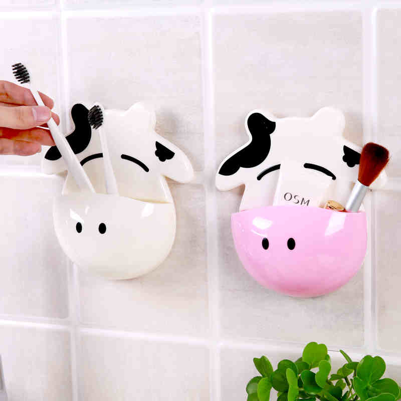 arrival:  1pc new arrival bathroom products Cartoon cow Kitchen Sundries Holder Bathroom toothbrush Hanger Storage Box - Martin's & Co
