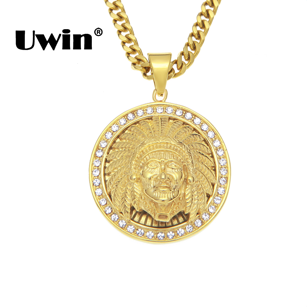 Uwin Indian Tribe Apache Chief Necklaces Round Gold Color Pendants Stainless Steel Rocker Hiphop Fashion Jewelry Drop Shipping