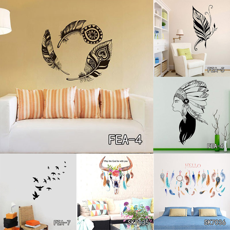 flying feather wall sticker diy peel and stick art for kids room