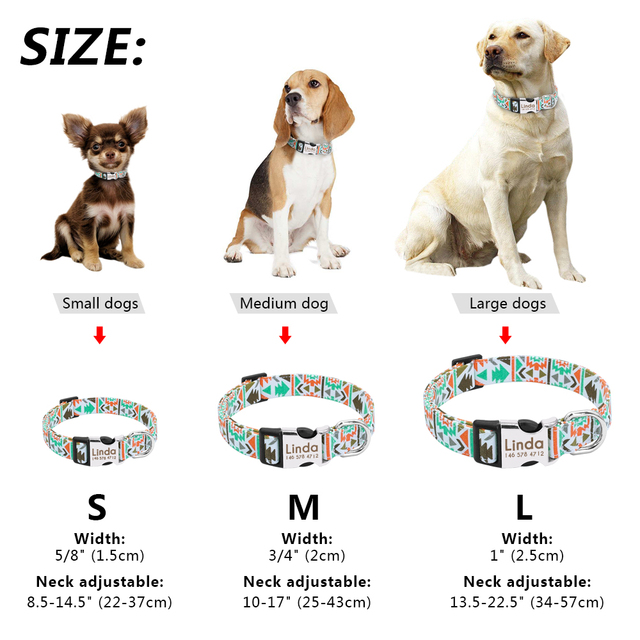 Dog Collar Personalized Nylon Customized Pet ID Tag Colllar Engraved Nameplate Puppy Dogs Collars Pets Accessories for Beagle 5