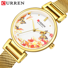 CURREN Brand Women Watches Mesh Steel Band Beautiful Flower Butterfly Design Quartz Wrist Watch For Lady Summer Dress Clock Gift