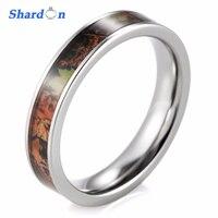SHARDON 4mm Kobiet Cienkie Tytanu Camo Pierścień Rocznica Wedding Band anel anillos Engagement Wedding Ring dla Kobiet