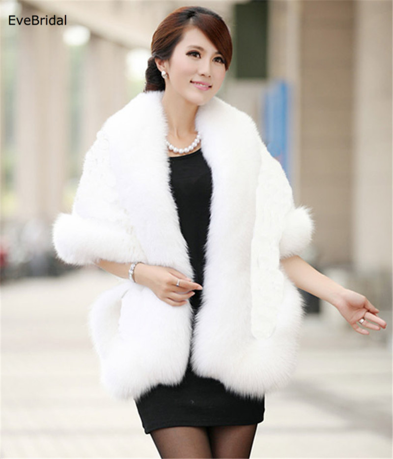 Купить с кэшбэком Faux Fur Wedding Bridal Shawl Winter Wrap Prom Shrug Bolero Cape Jacket Coats
