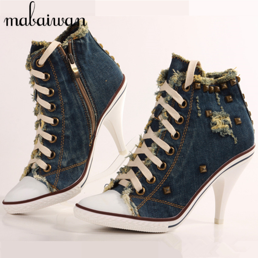 Fashion Blue Denim Shoes Woman High Heels Lace Up Side Zipper Ankle Boots Rivets Casual Shoes Women Pumps Zapatos Mujer fashion army green camouflage canvas shoes woman rivets thin high heels boots botas sweet lace up ankle boots women femininas
