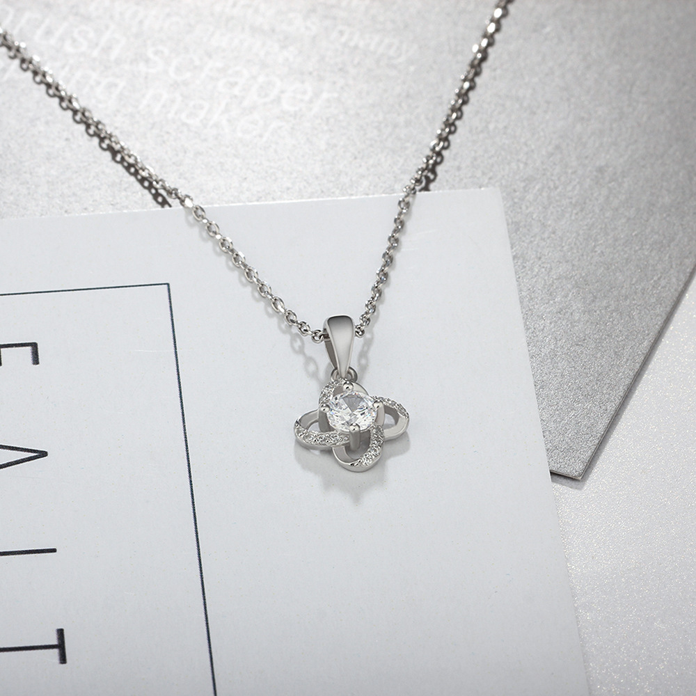 YSP19 fashion 925 sterling silver necklace,super shiny small flower pendant for graceful women graceful rhinestone snowflake pendant necklace for women
