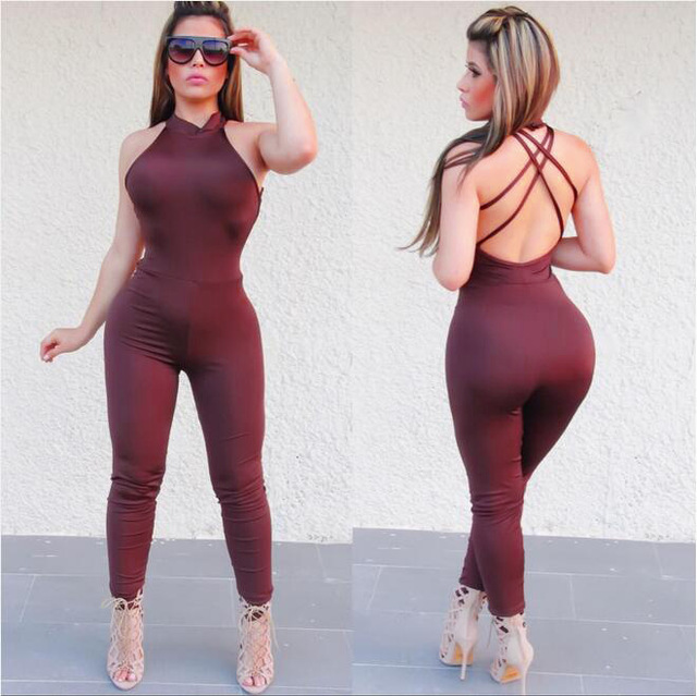 baggy jumpsuit 2016 Sexy backless solid colored body Siamese pants romper Bandage Club women Jumpsuit tight bandage bodysuit