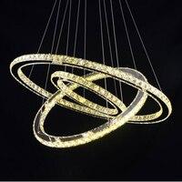 Новый Алмаз 3 Круги кольцо из нержавеющей стали современные подвесной светильник высокого светлый Свет 65 W светодиодный K9 хрустальная люстр