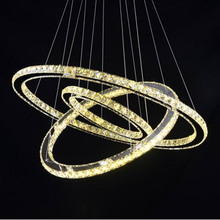 NEW Diamond 3 Circles  Ring Stainless steel Modern Pendant Lamp High-grade light  65W LED K9 Crystal Chandelier D40X30X20cm