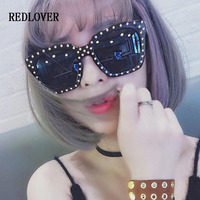 REDLOVER Fashion Luxury Women Men Sunglasses Brand Designer Ladies Oversized Square Rivet Punk Big Frame Sun