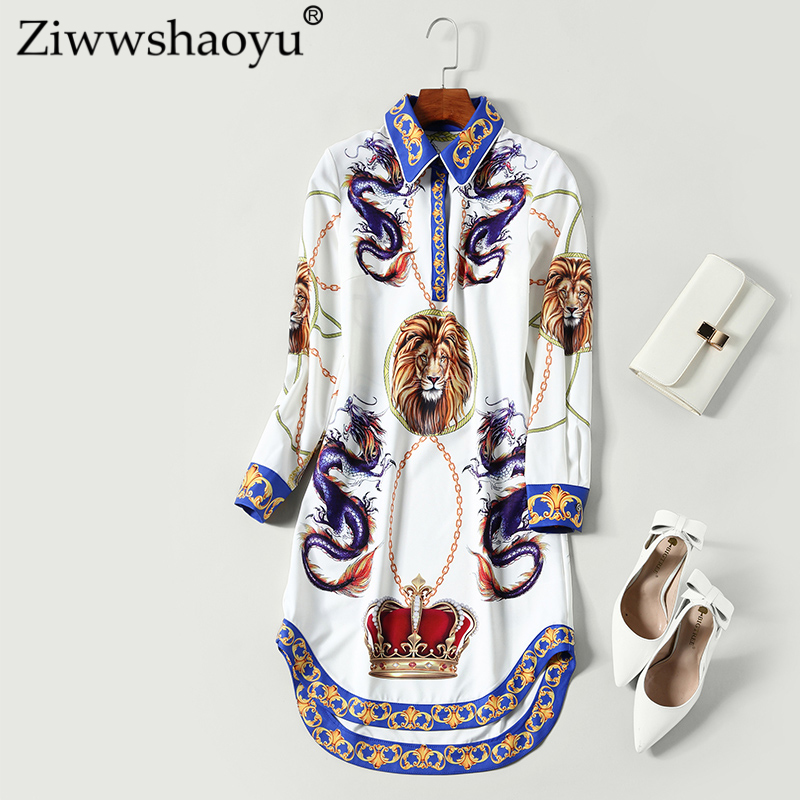 Ziwwshaoyu Europe And The United States Spring And Summer New Dress Bohemian Straight Print Turn-down Collar Long Sleeve Shirt D