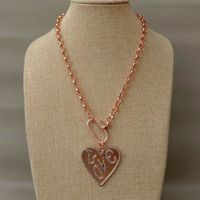 17'' 40x42MM Rose Golden Plated Chain Love CZ Pendant Necklace