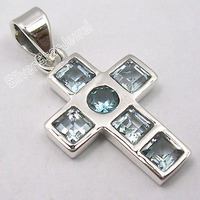 Sterling Silver Low Price BLUE TOPAZ Gem ONE OF A KIND CROSS Pendant 3 1