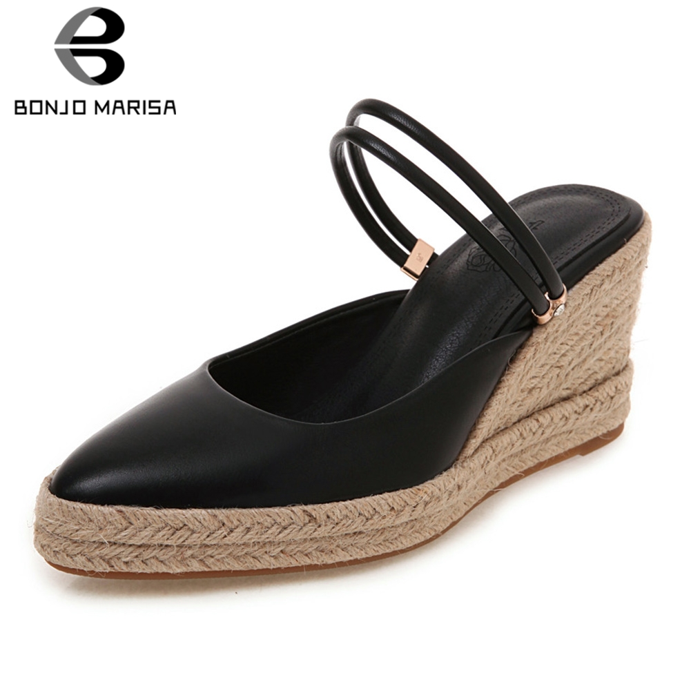 BONJOMARISA New Concise Two Styles Sandals Slippers Woman Platform Pumps Shoes Plus Size 32-44