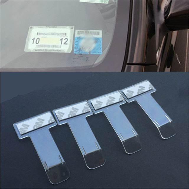 4Pcs Auto Car Parking Ticket Permit Holder Clip Windscreen Sticker T-shape Folder Bill Holder Mount Fastener for Home Office