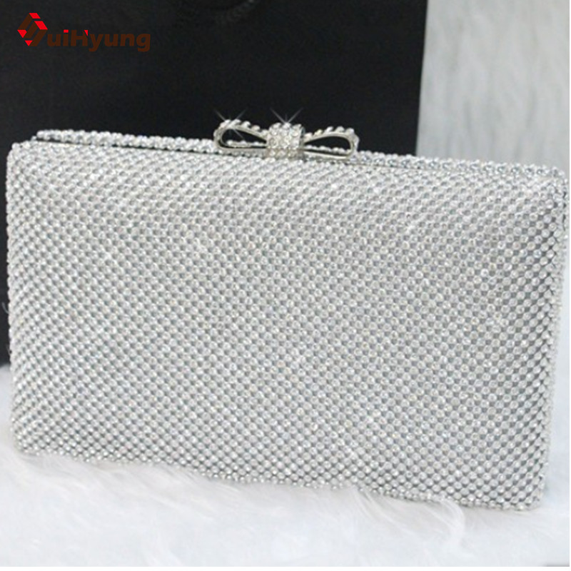 New Arrive Women Hard Box Day Clutch Fashion Bling Full Diamond Wedding Party Handbag Purse With