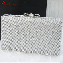 New Arrive Women Hard Box Day Clutch Fashion Bling Full Diamond Wedding Party Handbag Purse With Shoulder Chain Evening Bag
