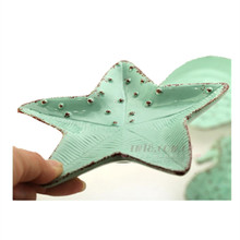 Cheap ceramic dish Cute snack dishes light green small dishes starfish hippocampus conch salad High quality plate dessert plates