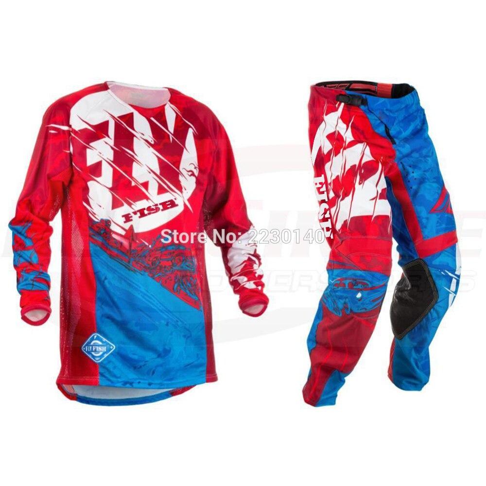 NIEUWE Fly Vis Racing Motocross MX Racing Pak Broek & Jersey Combo Moto Dirt Bike ATV Gear Set Rood/ zwart/geel - 2