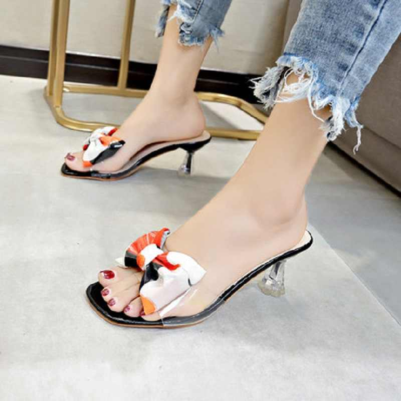 Women's Slippers 2019 New Summer Fashion Wear Jelly Transparent Slim Slippers Bows Slippers