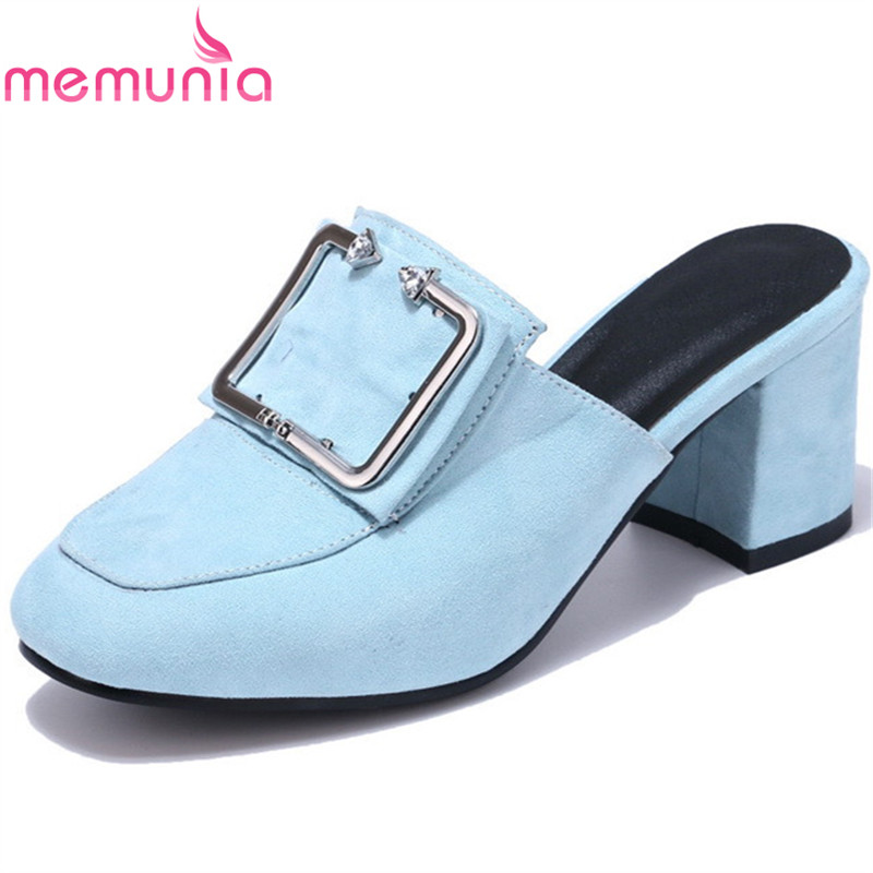 MEMUNIA fashion new arrive ladies sandals med heels summer shoes mules ladies leisure shoes buckle comfortable big size 34-44 memunia new arrive hot sale genuine
