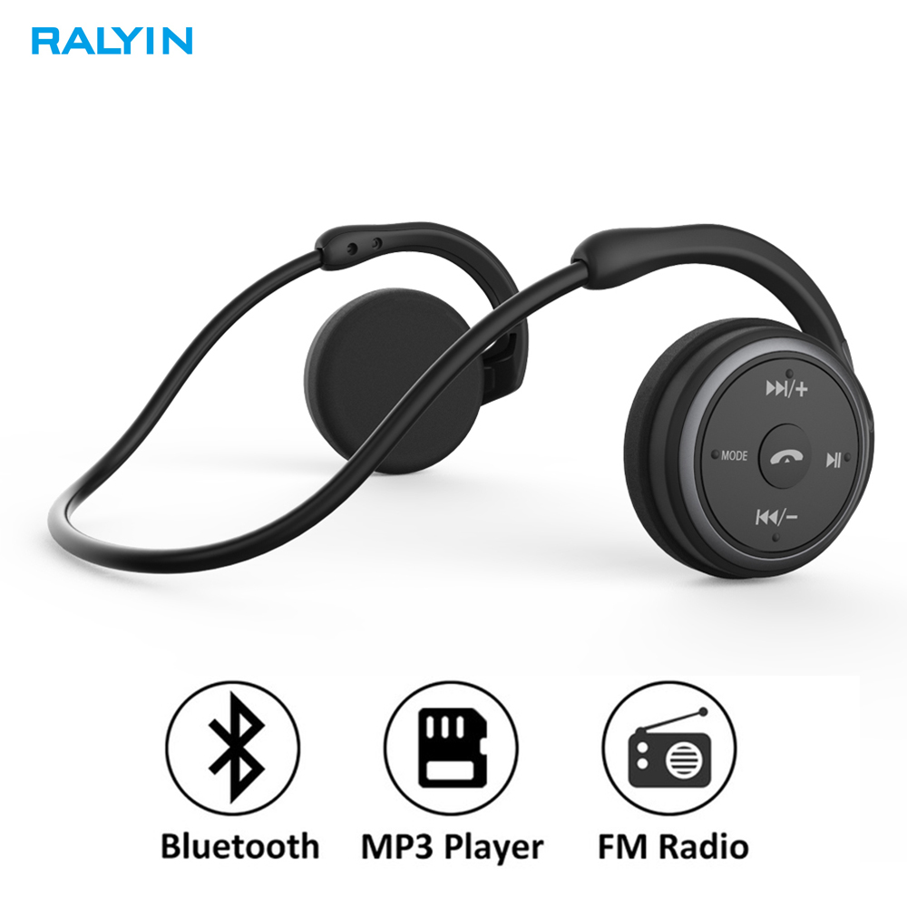 RALYIN Wireless Mp3 Music Player Headphone Support Memory Card FM Radio Sport Comfortable Bluetooth Earphone Wireless  Headset