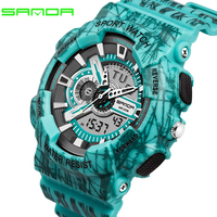 Men's Military Watch Waterproof S SHOCK Outdoor Sport Watches Men Luminous Multiple Time Zone Dual Display Digital Wristwatch