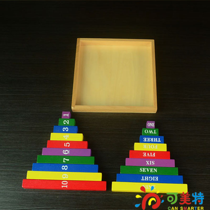 Montessori Education Colourful Number Sticks Beech Wood Box Math toys Early educational toys Free Shipping Can Smarter montessori education 0 10 numbers odevity pedestal beech wood math toys early educational toys free shipping